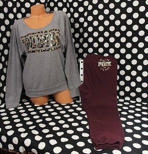 Victoria's Secret Pink Set Pantmaroon Gray Leopard Bling T Shirt Multi-Color