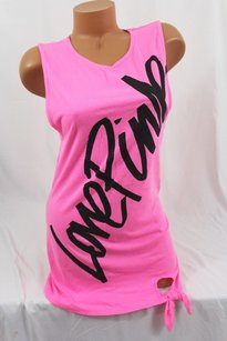 Victoria's Secret Script Tank Tunic Mini Dress Coverup T Shirt Pink