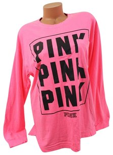 Victoria's Secret Campus Pocket Black T Shirt Pink