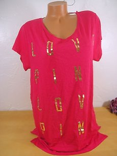 Victoria's Secret Dark Gold Foil Love T Shirt Pink