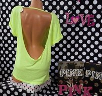 Victoria's Secret Victorias Pink Slouchy T Shirt Yellow