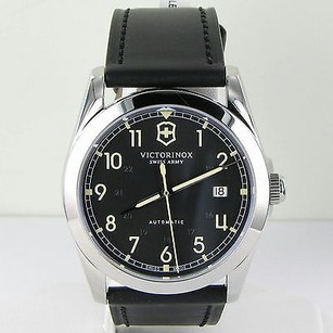 Victorinox Swiss Army 241586 Infantry Mechanical Dark Grey Dial Black Leather Watch