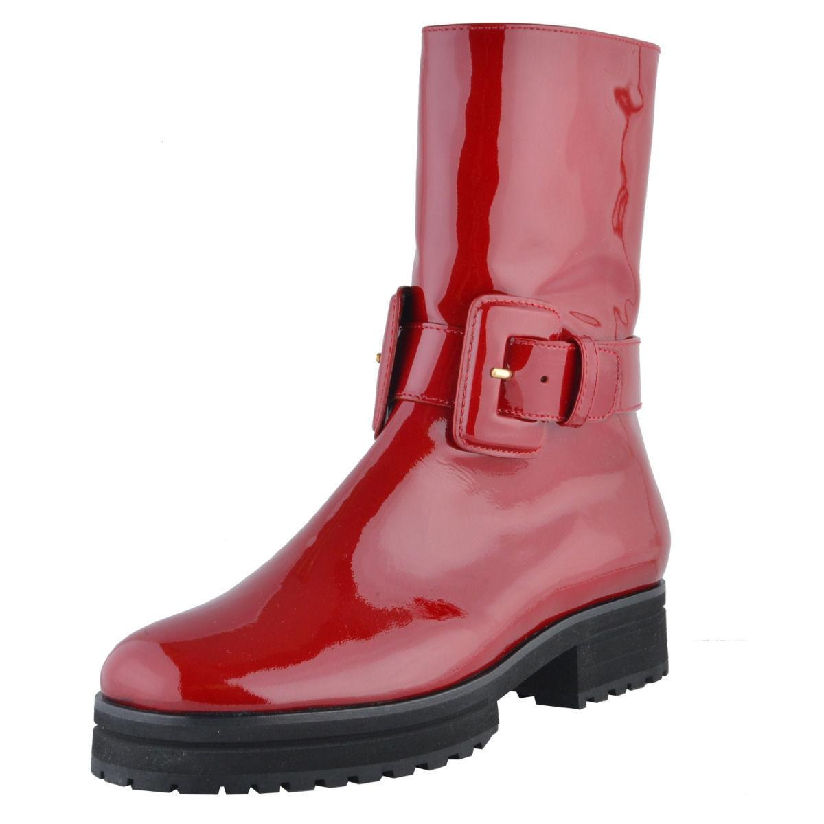 VIKTOR & ROLF Cherry Calf Red Patent Leather Mid Calf Cherry Boots/Booties Size US 8.5 Regular (M, B) 3dd262