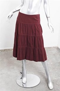 Vince Corduroy Tiered Flair Bellow Skirt Wine