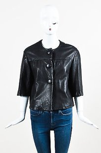 Vince Leather Cropped Black Jacket