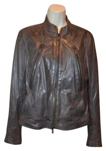 Vince Sm Leather Zipper Brown Jacket