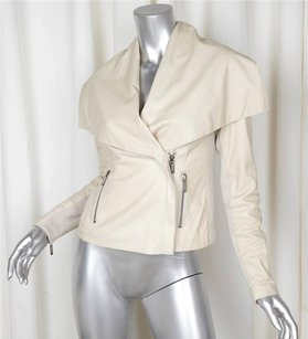 Vince Womens Leather Cream Jacket