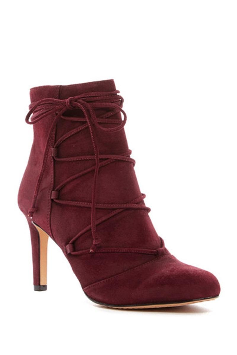 vince camuto chenai suede leather wraparound ankle