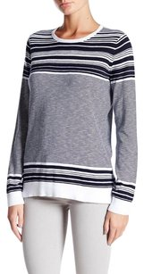 Vince White Coastal Blue Graphic Stripe Cotton Slub Crew Long Sleeve Sweater