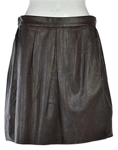 Vince Womens Solid Pleated Leather Above Knee Casual Skirt Brown