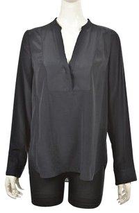 Vince Womens Dark Navy Silk Casual Shirt Long Sleeve Top Blue