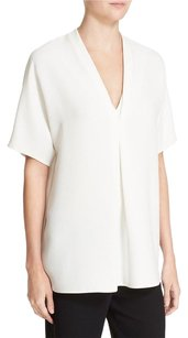 Vince Double V Neck Top White