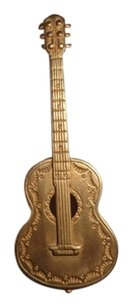 Vintage Marked JJ 1986 Guitar Brooch Rare Vintage Gold toned Pin 3 by 1 inch Jonette Jewelry