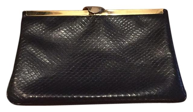 Vintage Snake Embossed Leather Clutch