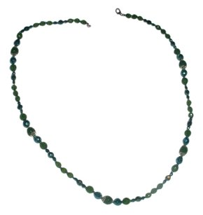 Vintage long green crystal necklace