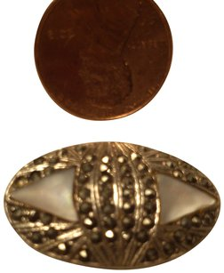 Vintage Silver, Marcasite and Mother of Pearl Pin