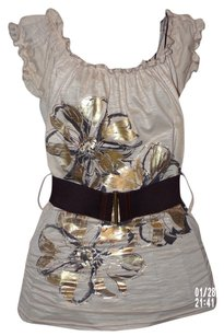 Vixen Ruched Applique Belted Top Ecru/Cream with Gold Lame & Black Floral Print
