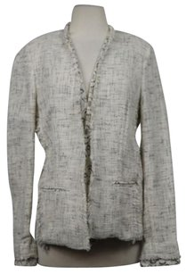 W118 by Walter Baker W118 Walter Baker Women White Tweed Blazer Cotton Long Sleeve Career Jacket
