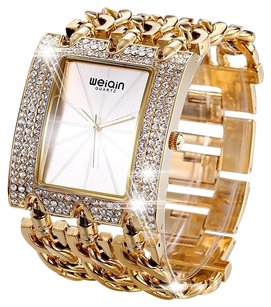 Weiqin Weiqin* 24K Gold Plated Rhinestone Women's Wrist Watch Bangle.