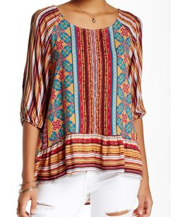 West Kei 100-polyester 3-4-sleeve Top