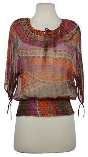 What Goes Around Comes Around Printed Silk Casual Top Purple