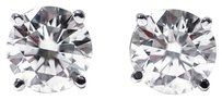 WHITE GOLD 0.22 Ct Round Cut 14K White Gold Diamond Stud Earrings