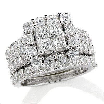 WhiteWhite Gold 4 Ct Tw Princesscut Quad Diamond Frame Womens