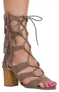 Wild Diva Ankle-strap Block Heels-and-pumps High Susie08taupe-6.5 Beige Sandals