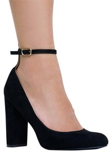 Wild Diva Ankle-strap Closed-toe High Black Pumps