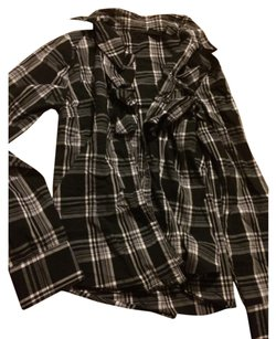 Willi Smith Button Down Shirt Black white gray