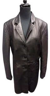 Wilsons Leather Pelle Studio Button Down Mid Length Sma9577 Black Jacket