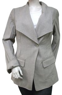 Worth Worth Pearl Grey Wool Blend Over Sized Lapel Blazer Jacket Lined