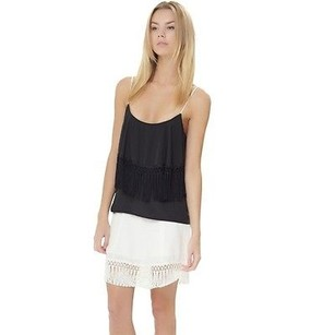wren White Fringe Silk Top Black