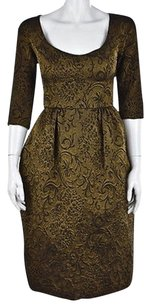 Wyeth by Todd Magill Womens Gold Black Textured Metallic Casual Dress