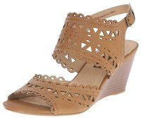 XOXO Wedge Cut-out Faux Leather TAN COGNAC BROWN Wedges