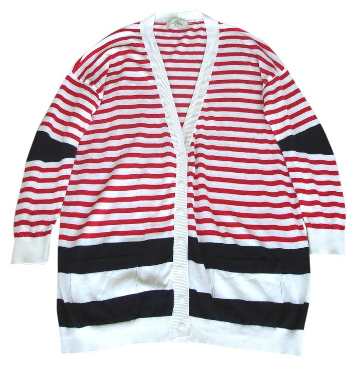 Red Stripes Navy Summer Cardigan Size 6 (S) - Tradesy