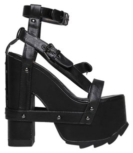 YRU 30heelsale Ankle-strap Black Sandals