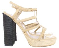 YSL ST LAURENT Rope Nude Chunky Designer Jute Heels Womans Woven Two-tone Black and Tan Platforms