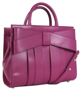 Zac Posen Leather Bow Satchel in Fuchsia