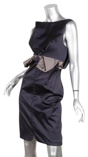 Zac Posen Womens Navy Satin Sleeveless Boatneck Bow Sheath 4s Dress