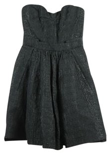 Zac Posen Womens Black Silver Sheath Med Wool Formal Strapless Dress