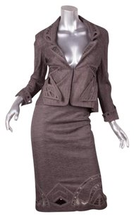 Zac Posen Zac Posen Womens Brown Cottonlinen Lasercut Blazer Jacketskirt Suit 2xs