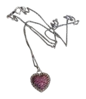 Zale's 10K White Gold Pink & White Saphire Puffed Heart Necklace