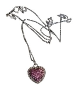 Zale's 10K White Gold Pink & White Saphire Puffed Heart Necklace 10K White Gold Necklace with White & Pink Saphire Puffed Heart