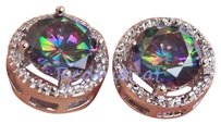 Zales NEW 18K WHITE GOLD MYSTIC RAINBOW TOPAZ LARGE STUD EARRINGS