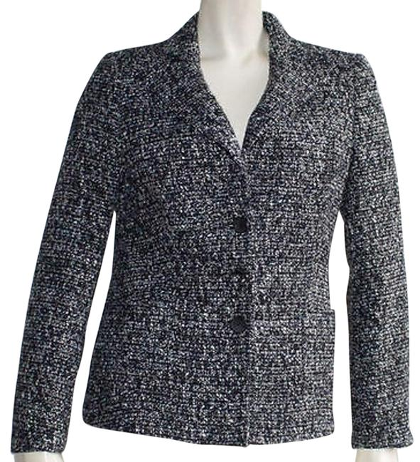 27c5f42ea94d 80%OFF Zanella Black White Blue Wool Blend Tweed Button Up Blazer Jacket  Hs812