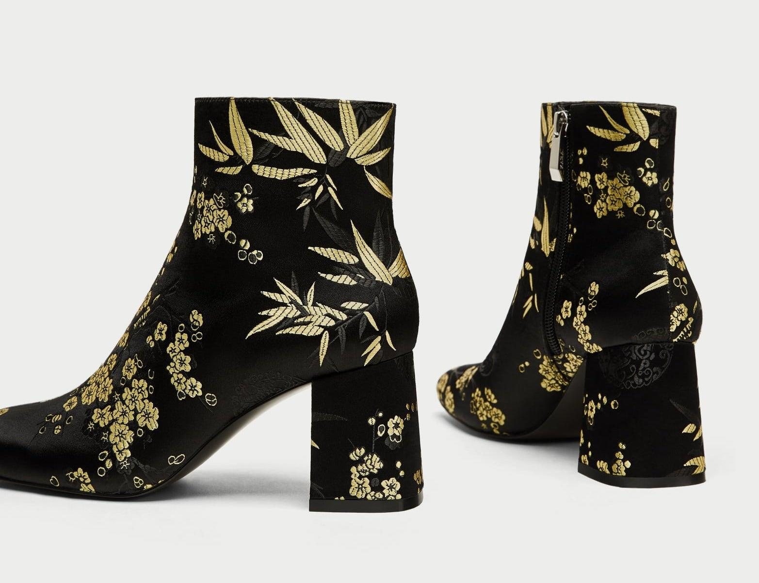 8d15e371884 ... Zara Black Gold Floral Heeled Ankle Boots Booties Size Size Size US 6.5  Regular ...