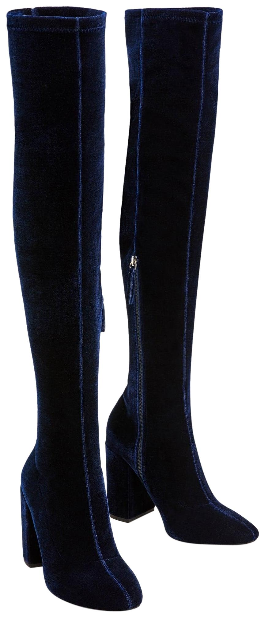 a4878faa4e6 Zara Blue Velvet Over The The The Knee High Heel Boots Booties Size US 5