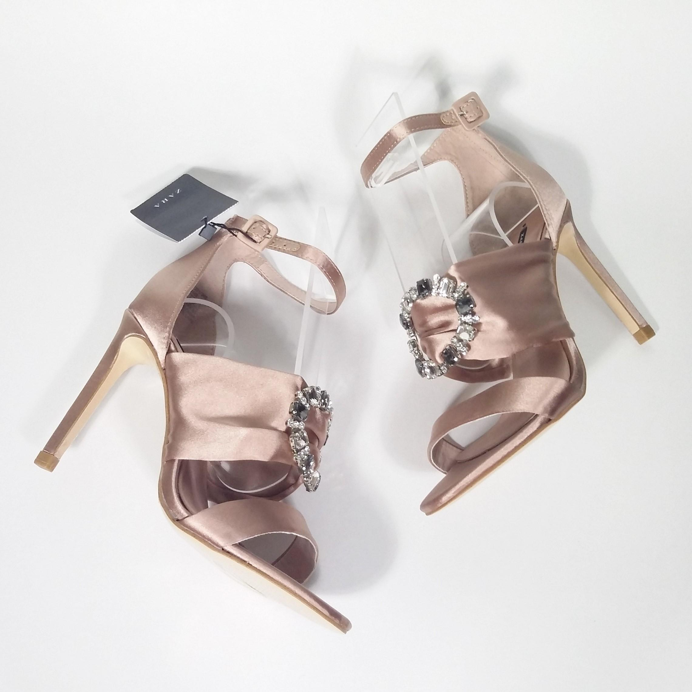 Nouvelles Chaussures Taille Strass Rose Blush Embelli Zara TgPqStHx