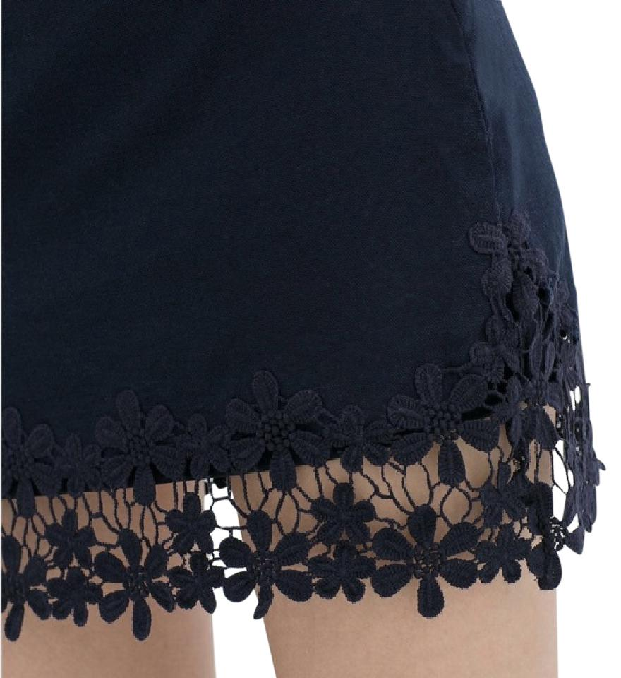 zara blue floral lace embroidered skirt size 6 s 28